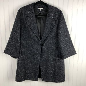 CAbi Blair Wool Coat Flecked Tweed One Button M